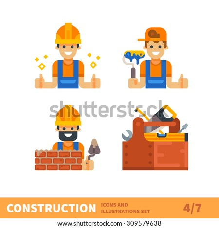 Construction set. Work for builder or foreman: painting, building, bricklaying. Tools for construction and repair. Vector flat illustration  - stock vector