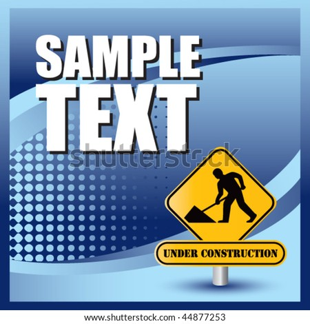 construction sign blue halftone banner
