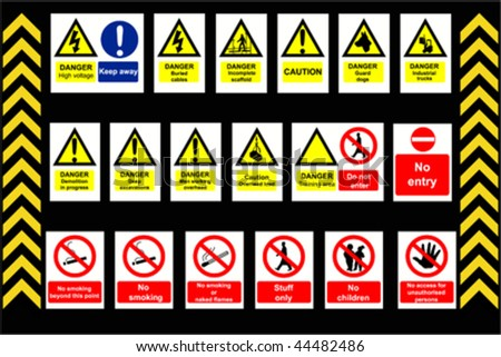Construction Signs building site, construction environments, vector isolated by groups - stock vector