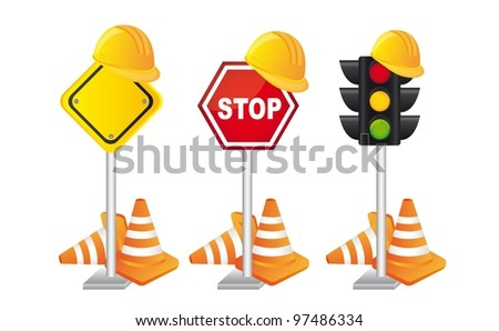 Construction signs with helmet over white background. vector