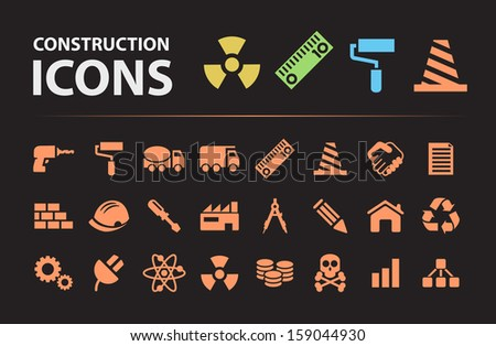 Construction Silhouette Icons. - stock vector