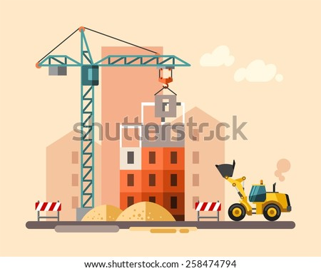 Construction site, building a house - vector flat illustration. - stock vector
