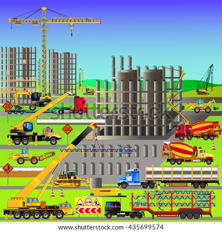 Construction site, building a house. Vector illustration. Heavy construction equipment. All elements are on isolated layers. Isometric style
