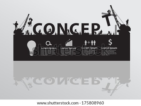 Construction site crane building concept text, Vector illustration template design  - stock vector