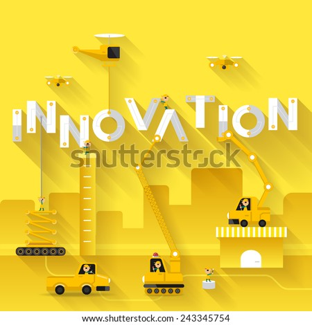 Construction site crane building Innovation text, Vector illustration template design - stock vector