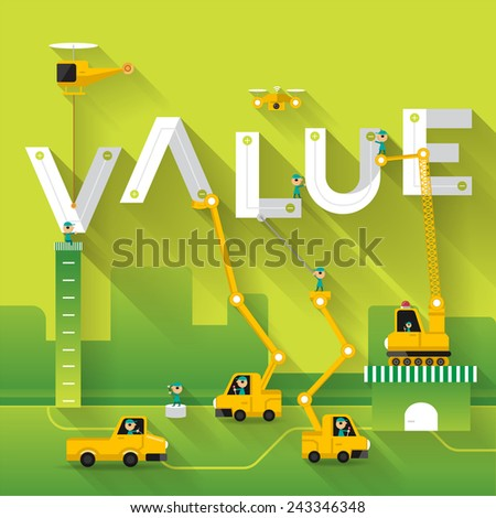 Construction site crane building Value text, Vector illustration template design - stock vector