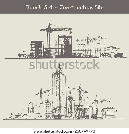 Construction site doodle drawing - stock vector