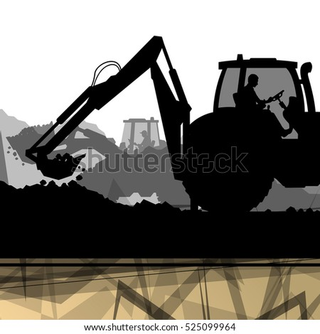 Construction site excavator tractors hydraulic machines and workers digging at industrial electricity power construction site abstract vector background illustration
