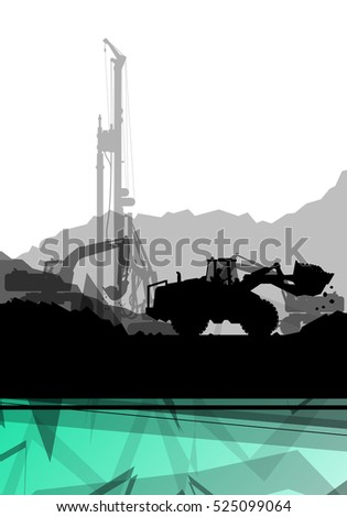 Construction site excavator tractors hydraulic pile drilling machines and workers digging at industrial construction site abstract vector background illustration