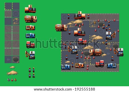 construction site - pixel art video style game elements vector illustration set - stock vector