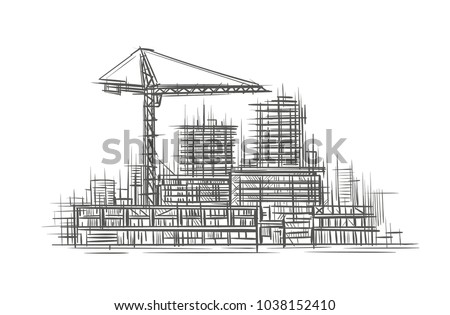 Construction Site Sketch Hand Drawn Vector Stock Vector 1038152410 ...