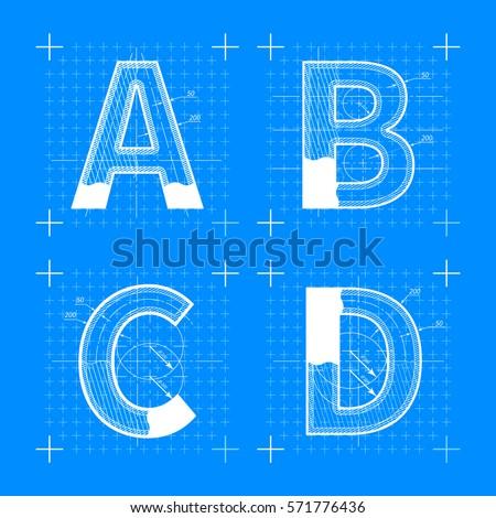 Construction sketches b c d letters stock photo photo vector construction sketches of a b c d letters blueprint style font malvernweather Images
