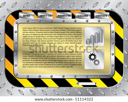 Construction style web template - stock vector