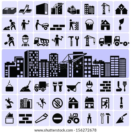 Construction symbols icons - stock vector
