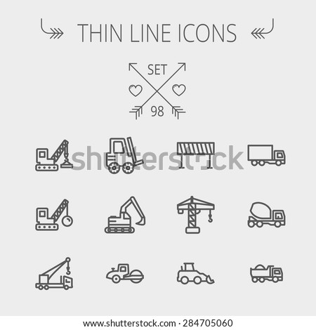 Construction thin line icon set for web and mobile. Set includes- forklift, road roller, cranes, dump truck, road barrier, delivery truck, mixer. Modern minimalistic flat design. Vector dark grey icon - stock vector
