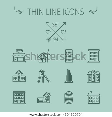 Construction thin line icon set for web and mobile. Set includes -house, playhouse, house with garage, buildings, shop store. Modern minimalistic flat design. Vector dark grey icon on grey background - stock vector