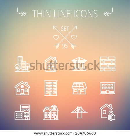 Construction thin line icon set for web and mobile. Set includes -museum, house with solar panel, bridge, building, bricks, hotel. Modern minimalistic flat design. Vector white icon on gradient  mesh - stock vector