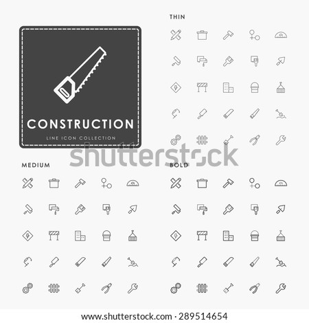 construction thin, medium and bold outline icons - stock vector