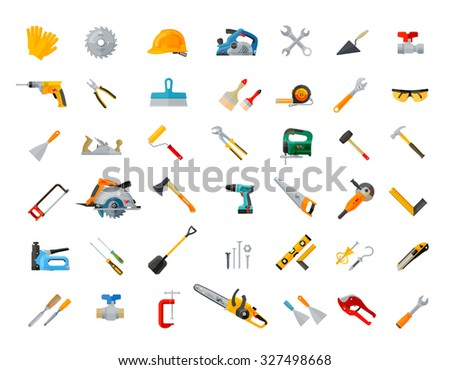 construction, tools icons set. vector illustration - stock vector