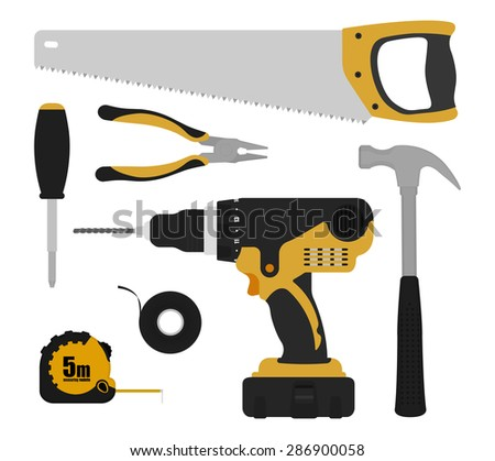 Construction tools instruments set.Black and yellow color. Vector - stock vector