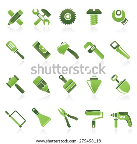 Construction tools object icons - vector icon set - stock vector