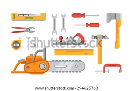 Construction tools objects vector icons, illustrations in flat style.