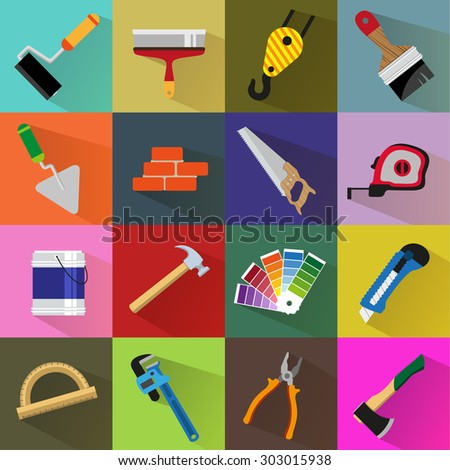 Construction tools on colored backgrounds. Flat style icon set  - stock vector