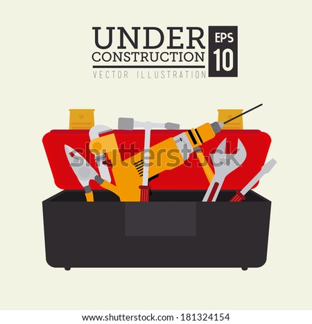 construction tools over beige background vector illustration