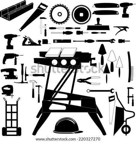Construction tools set - stock vector