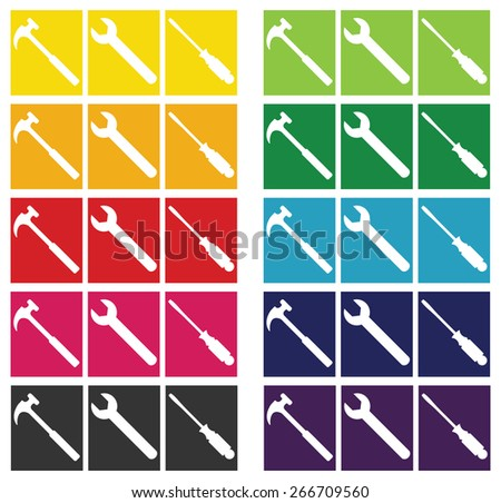 Construction Tools-Set of Construction or Home Repair tools shown in silhouette against a spectrum of color block backgrounds - stock vector
