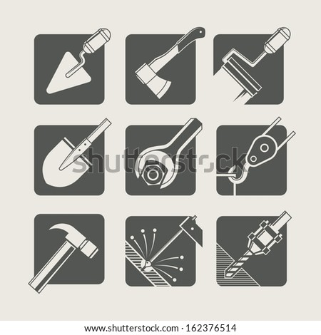 construction tools. set of vector icons. vector illustration - stock vector