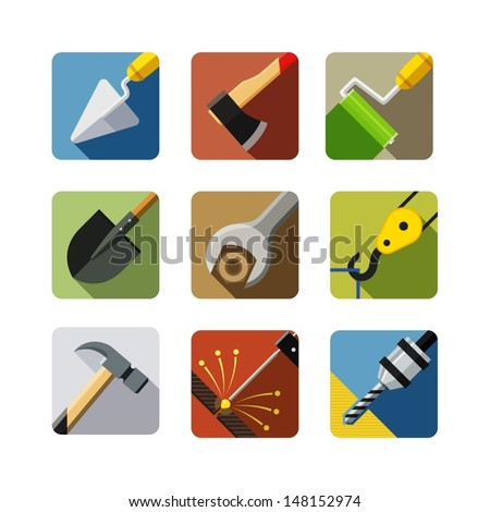 construction tools. set of vector icons. vector illustration isolated on white background EPS10. Transparent objects and opacity masks used for shadows and lights drawing - stock vector