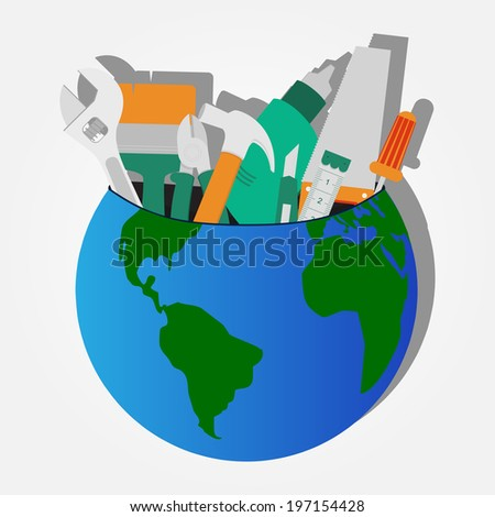Construction tools stored on the planet: screwdriver, wrench, saw, drill, pliers, hammer, stiletto, tape. Construction tools stored on the planet. - stock vector