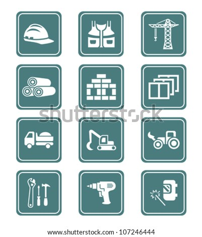 Construction tools, transportation, materials and more icon-set - stock vector