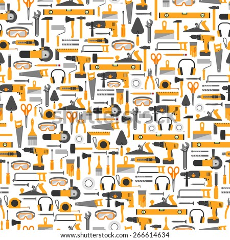 Construction tools vector icons seamless pattern. Hand equipment background in flat style. - stock vector