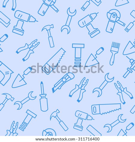 construction tools vector seamless pattern. drill, screwdriver,pliers,saw,knife, wrench, hammer, screwdriver, screws, putty knife, brush.  - stock vector