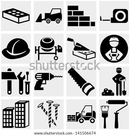 Construction vector icon set on gray - stock vector
