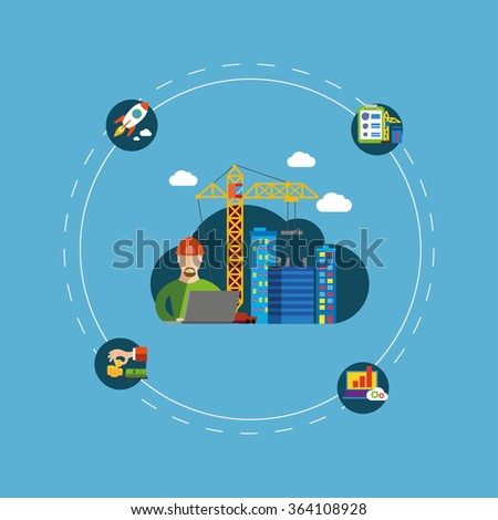 Construction vector  illustration, building a house - vector flat illustration. - stock vector