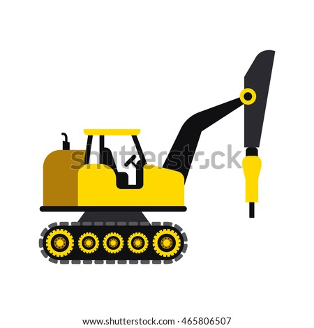 Construction vehicle/ transportation icon in flat style