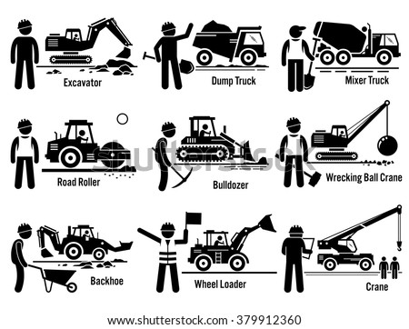 Construction Vehicles Transportation and Worker Set  - stock vector