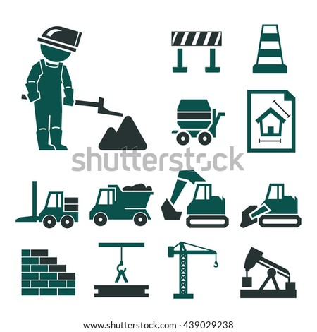 construction work icons set