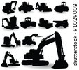 construction work machine silhouette on white background - stock photo