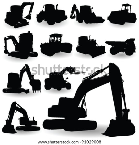 construction work machine silhouette on white background - stock vector