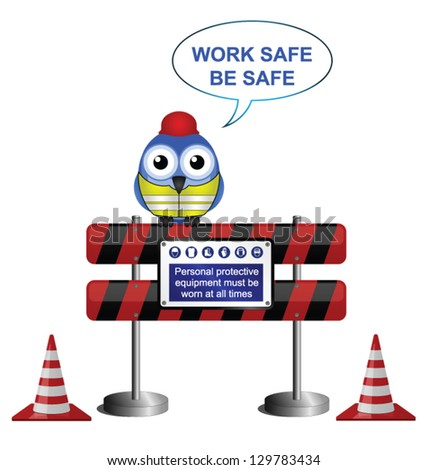 Construction work safe message isolated on white background - stock vector