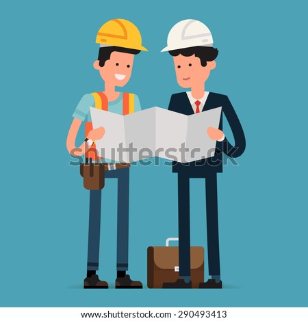 Construction worker architect reading building scheme vector de construction worker and architect reading building scheme blueprint male civil engineer characters studying construction documentation malvernweather Image collections