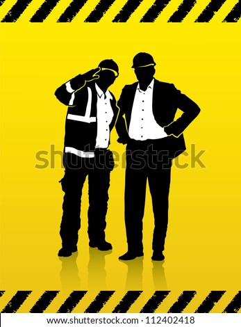 Construction worker and manager on the construction site  - vector illustration - stock vector