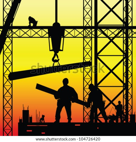 construction worker at work and dusk vector illustration - stock vector
