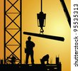 construction worker at work with crane illustration - stock photo