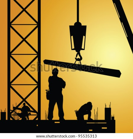 construction worker at work with crane illustration - stock vector