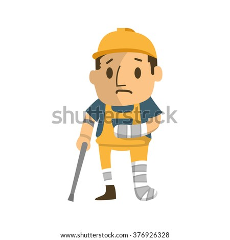 construction worker badly injured  walking on cructhes.  - stock vector